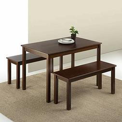 Zinus Juliet Espresso Wood Dining Table with Two Benches / 3