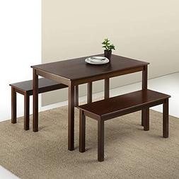 juliet espresso wood dining table with two