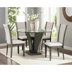 Roundhill Furniture Kecco 5 Piece Round Fabric Dining Table