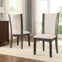 Roundhill Furniture Kecco Wooden Fabric Upholstered Dining C