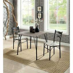 Furniture of America Kelle 3 Piece Dining Set in Natural Ton