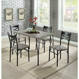 Furniture of America Kelle 5 Piece Dining Set in Natural Ton