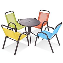 COSTWAY Kids Dining Table and Chairs Play Set Patio/Indoor 5