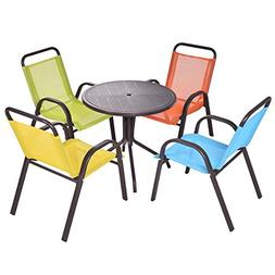 Costzon Kids Table Set, 5 Pieces Patio Activity Table and Ch