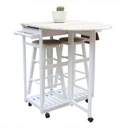 Kitchen Cart Island Rolling Home Dining Table Set Wooden Tro