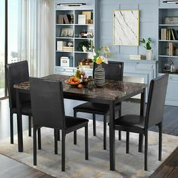 Kitchen Dining 5 Piece Faux Leather Set Breakfast Furniture