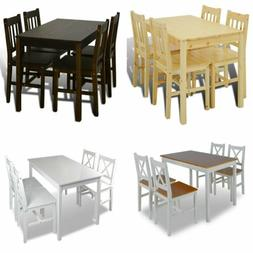 Set of 5 Kitchen Dining Pine Wood Breakfast Furniture Table