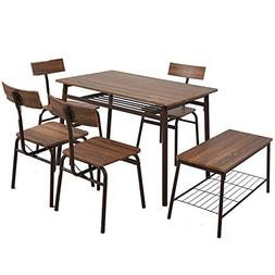 Dporticus 6-Piece Kitchen & Dining Room Sets -1 Table, 4 Cha