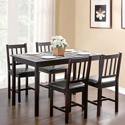 Merax. 5-piece Kitchen Dining Set Wood Dining Table with 4 D