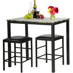 Kitchen Dining Table Chairs Set Marble Rectangular Breakfast