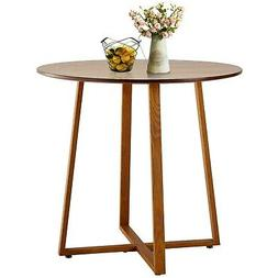 VECELO Kitchen Dining Table Round Solid Wood Coffee Tables O
