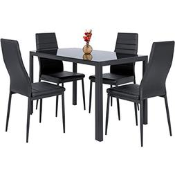EBS 7 Piece Kitchen Dining Table Set for 6 with Modern Glass