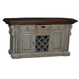 Kitchen Island Cottage Farmhouse Distressed Corbels Pearl Gr
