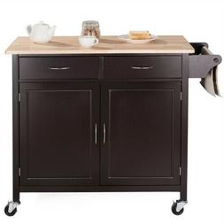 Kitchen Island Storage Cart On Wheels Dark Brown Wood Top Sh