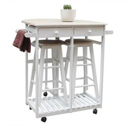 Kitchen Island Trolley Cart 3 Piece Dining Table Set with Wo