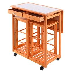 Kitchen Island Trolley Cart Rolling Drop Leaf Table with 2 S