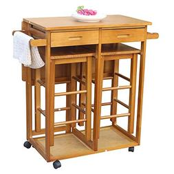 FCH Kitchen Island Trolley Cart with 2 Square Stools and 2 D