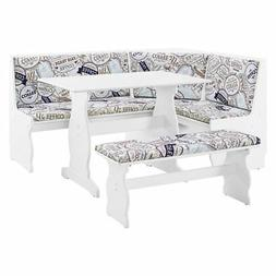 3-Pc Kitchen Nook Dining Set in White and Coffee