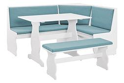 3-Pc Kitchen Nook Dining Set in White and Blue
