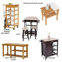 Kitchen Rolling Cart Island Dining Trolley Storage Modern Ca