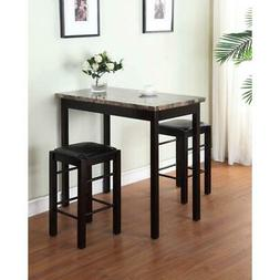 Kitchen Table Bar Pub Set Counter Height With Stools 3 Piece