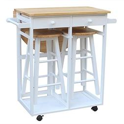 SSLine Rolling Kitchen Island with Seating 3pcs Dining Table