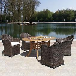 Premium Outdoor Patio Woven Wicker & Teak 5 Piece Dining Set