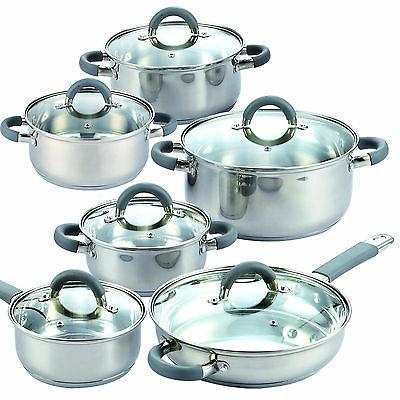 Cook N 12 Piece Stainless Cookware Set, Silver