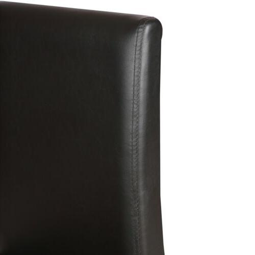 Set of 4 Dining Chairs Leather Cushion Side Chairs Legs