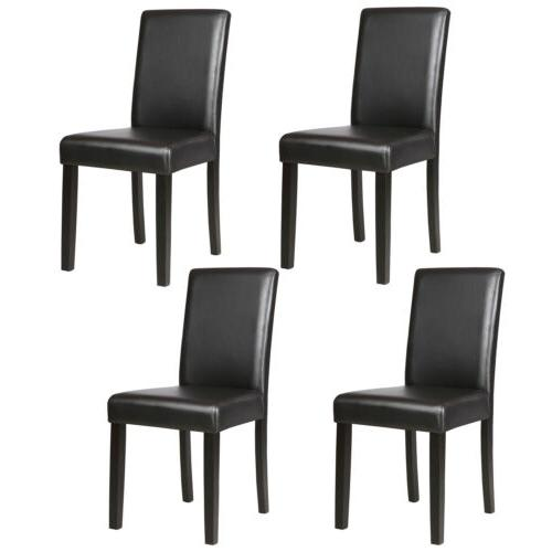 Set of Dining Chairs Leather Side w/Sturdy Legs