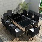 17 Pieces Outdoor Dining Set Poly Rattan Table and Chairs Ga