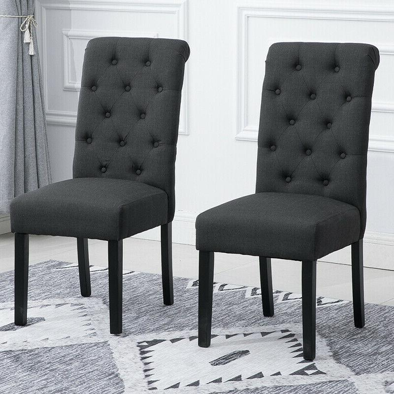 2Pcs Dining Chairs High Back Fabric Upholstered Button Tufte
