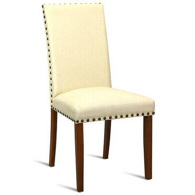 2-Set Armless Accent Chairs Upholstered Restaurant Beige