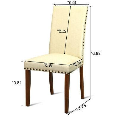 2-Set Armless Chairs Upholstered Restaurant Beige