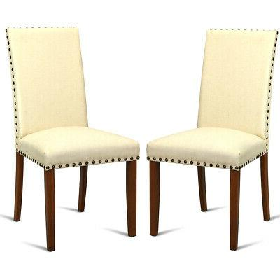 2 set armless accent dining chairs fabric