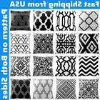 """20x20"""" Black & White Accent Throw PILLOW COVER Sofa Couch Be"""