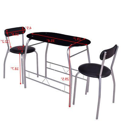 3 Tempered Glass Table 2 Chairs Bistro Furniture
