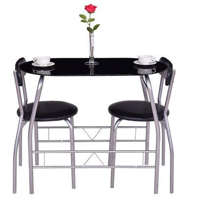 3 Piece Dining Tempered Glass Top 2 Kitchen
