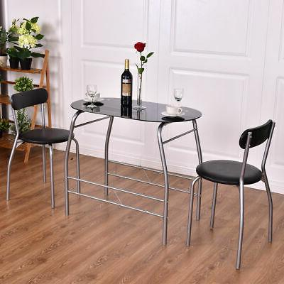 3 Piece Dining Set Tempered Glass Top Table 2 Chairs Bistro