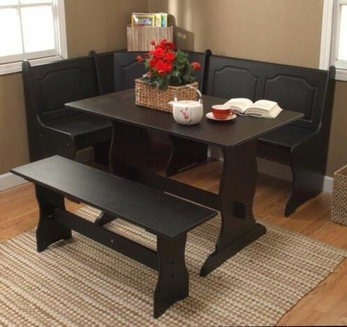 3 Black Wooden Breakfast Table