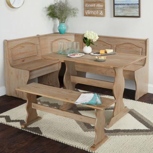 3 pc Rustic Wooden Breakfast Nook Dining Set Corner Booth Be
