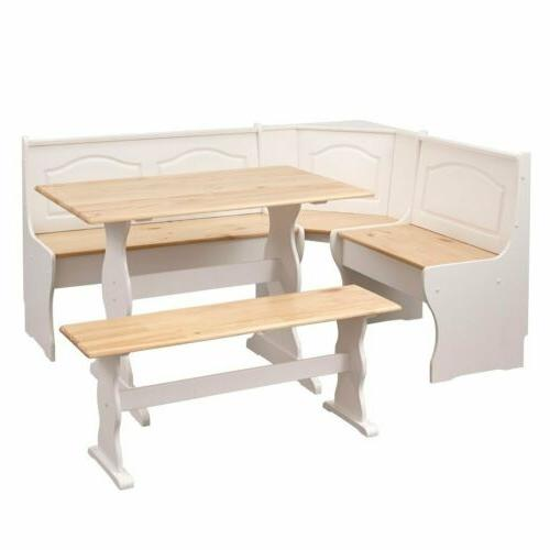 3 White Wooden Top Nook Dining Set Corner Bench Kitchen