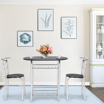 3 PCS Bistro Dining Set Table Chairs Home Restaurant