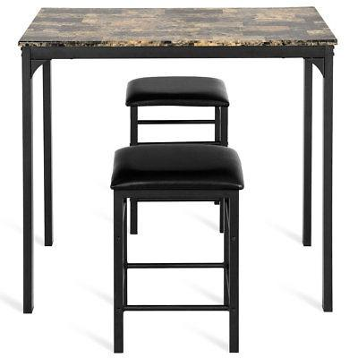 3 PCS Dining Set Faux Table Chairs Kitchen Bar