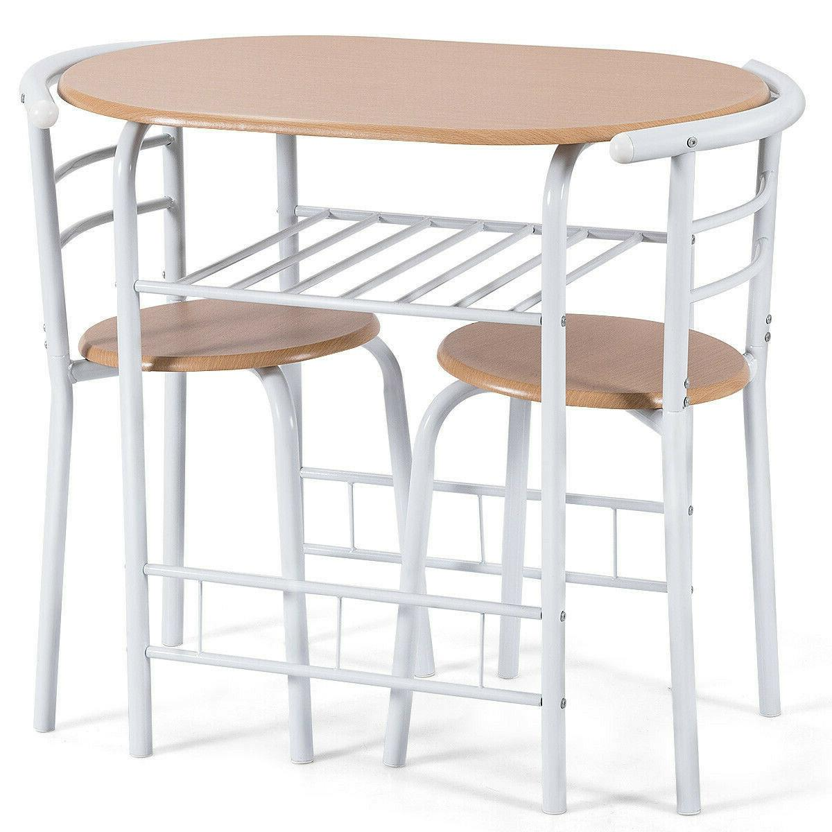 3 Pcs Kitchen Bistro Dining Table 2 Chairs