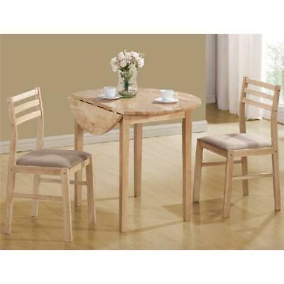 3 Piece Breakfast Dining Set Round Top Table 2 Chairs Uphols