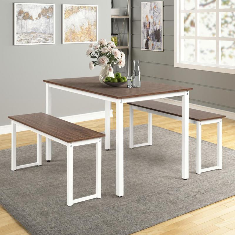 3-Piece Brown Dining Table Set With 2-Benches