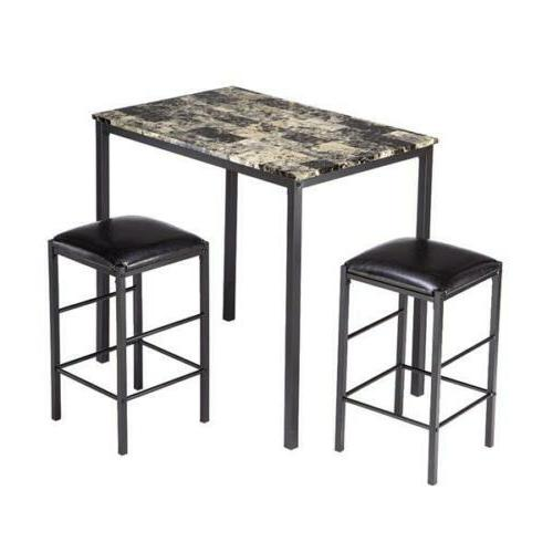 3 Piece Height Dining Table and 2 Chairs Kitchen Bar New