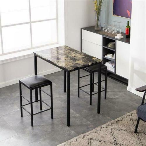 3 Dining Set Marble Table and 2 Kitchen New