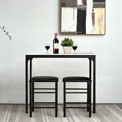 3 Piece Dining Set Marble Table and Kitchen New